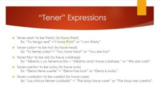 """Here we go over the conjugations of tener and some tener expressions, such as """"to be cold"""", """"to be lucky"""", etc."""