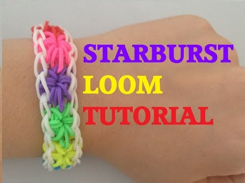 Loom Bands STARBURST (Original Method) Rainbow loom bracelet Tutorial l JasmineStarler