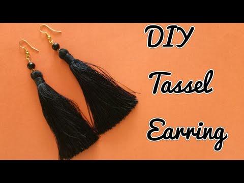 Black Tassel Earrings/ How to make silk thread tassel earrings at home/ DIY Earrings making video