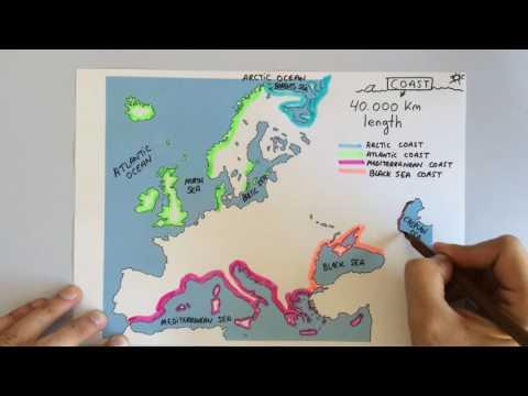 European coastline, islands and peninsulas