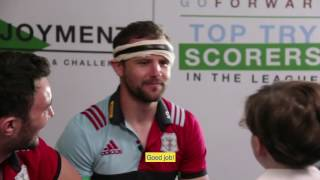 Watch Harlequins trio Nick Evans, Joe Marler and George Lowe take part in a gruelling interview by one of Aviva's next generation of ultimate mini fans! As part of the celebrations of Aviva's seven years of title sponsorship, they will be giving away two season tickets to one lucky Harlequins Rugby fan for next season. Simply register here for your chance to win: bit.ly/2qbEiya (T&Cs apply)