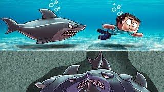 Minecraft | FISHING CHALLENGE: Secret Shark Traps! (BEWARE SHARK ATTACK)