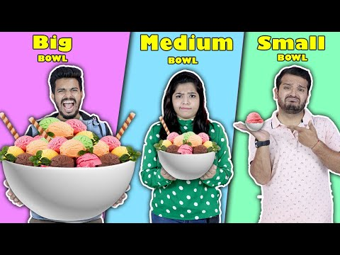 Big Vs Medium Vs Small BOWL Challenge | Food Challenge India | Hungry Birds