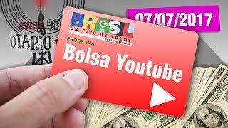"""Se não bastasse o bolsa família e o bolsa empresário (do BNDES), agora. estão querendo criar o bolsa youtube?! Compre seu Otarinho http://canaldootario.com.br/store/CAMISETAS http://canaldootario.com.br/loja2/SE INSCREVE AÍ NESSA BAGAÇA http://bit.ly/2dlmOXnTORNE-SE MEU PATRÃO ;-) http://www.patreon.com/CanalDoOtarioDOAÇÕES http://www.canaldootario.com.br/doacoes/Acesse o site http://CanalDoOtario.com.brLojinha do Canal do Otário http://canaldootario.com.br/store_Utilize o código: CANALDOOTARIO na primeira corrida do UBEREste código oferece uma viagem com desconto de até R$20 para novos usuários. O código é válido até 31/12/17 e é exclusivo para novos usuários.Abaixo segue um passo a passo para o uso do código.1º Baixar o Uber e/ou abrir o aplicativo http://ubr.to/2cxGDbL 2º Clicar no menu superior esquerdo (três traços do canto superior esquerdo).3º Clicar em promoções.4º Clicar em """"Adicione um código promocional"""".5º Escrever CANALDOOTARIO e clicar em aplicar.Para mais informações, fontes e links extras acesse: http://www.canaldootario.com.br/videos/bolsa-youtube-curso-de-esquerda-fim-da-lava-jato-e-gretchen-rainha-dos-memes/ Agradecimentos Especiais aos Patrões:Bruno BezerraDelcio JuniorRafael CostaMarcelo FerreiraAndré CastroRafael AmorimPlínio DutraEdu CruzDaniel LacerdaFlávio AbraãoLuciano CamposR SouzaObrigado, Patrões! O apoio financeiro ao Canal através do Patreon, está sendo fundamental para manter o Canal vivo e fazer vídeos como este!___Música e efeitos sonoros:Diego Vilas Boas"""