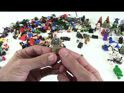 Large box of Lego Mini Figures being Unboxed