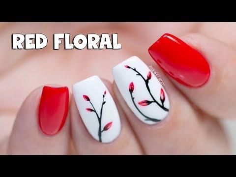 EASY GEL NAILS - Soft Red Floral