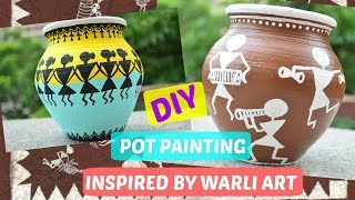 Pot Painting Inspired by Warli Art