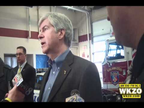 Governor Rick Snyder interviews about law enforcement tour in Kalamazoo