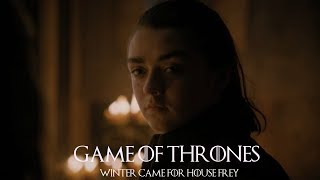 """Game of Thrones 7x01. Arya's wine-soaked revenge.""""Leave one wolf alive and the sheeps are never safe."""""""