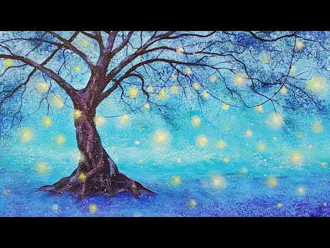 Easy Fireflies Tree Acrylic Painting LIVE Tutorial