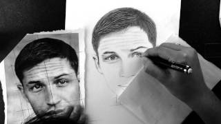 Tom Hardy Timelapse Drawing by Jade Flanagan