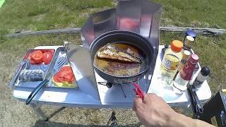 サゴシを釣ってソロキャンプ~part2・昼食サゴシバーガーと炙り刺し~