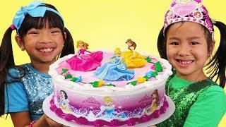 Emma & Jannie Pretend Play w/ Happy Princess Birthday Cake Surprise Party Toys