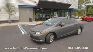 Autoline Preowned 2012 Honda Civic Cpe LX For Sale Used Walk Around Review Test Drive Jacksonville