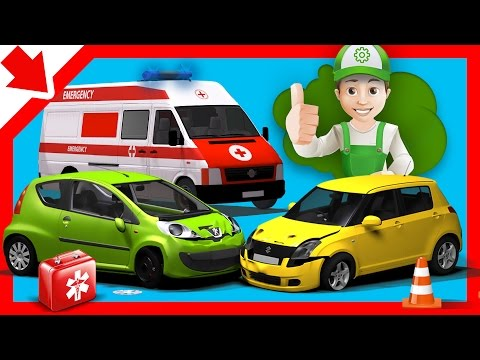 Car accident for children. Handy Andy cartoon Car accident cartoon Ambulance for kids Cartoon car