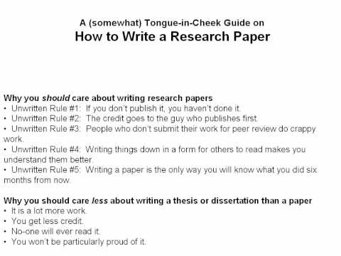 research - This is a (sometimes) tongue-in-cheek look at how to write a scientific research paper that is given as part of a graduate student seminar at Oklahoma State ...