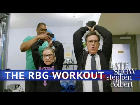 Stephen Works Out With Ruth Bader Ginsburg (видео)