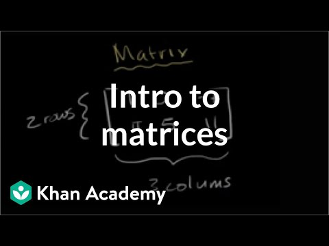 Intro To Matrices Video Matrices Khan Academy