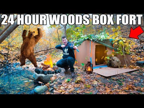 24 HOUR BOX FORT IN THE FORREST SURVIVAL CHALLENGE!  Coyotes, DIY Gear & More!