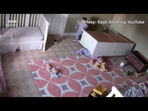 Video Boy, 2,  saves twin from falling furniture   BBC News download in MP3, 3GP, MP4, WEBM, AVI, FLV January 2017