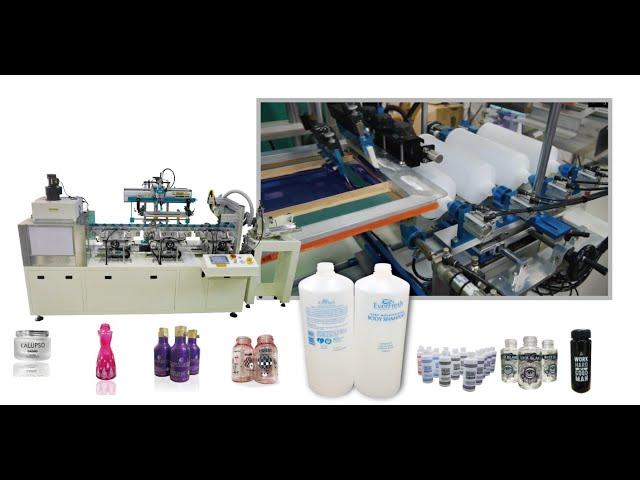 FA-LV3自动单色曲面印瓶伺服网印机(火焰+UV干燥)-全自动印瓶机