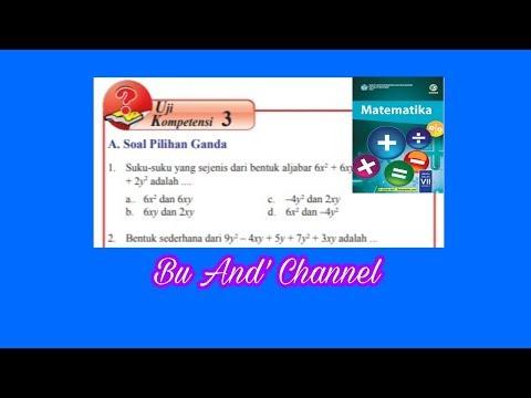 Uji Kompetensi 3 PG Matematika kelas 7 Bab 3 Bentuk Aljabar