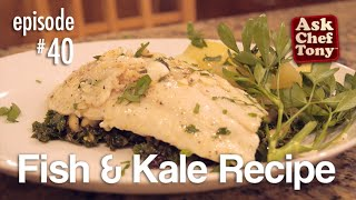 Fish is a great source of Omega 3 and kale is full of goodness for your brain and body as well… and they are also delicious together. In this episode, Tony puts a little bit of his intuition and creativity to work in bringing this dish to life. By adding some other ingredients such as currants and macadamia nuts, we bring the dish up another notch in flavor. This dish was thought up the same morning as he looked at his garden and saw the abundance of kale.