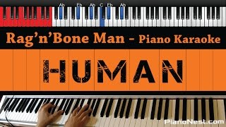 Rag'n'Bone Man - Human - HIGHER Key (Piano Karaoke / Sing Along)