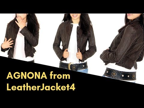 LeatherJacket4 Agnuna Dark Brown Washed Women's Leather Jacket видео