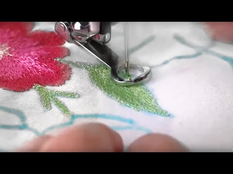 Sewing Machine - Use a darning embroidery foot for repairing holes or torn areas. It can also be used for free motion embroidery, stipple quilting and monograms. Learn how to...