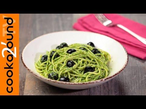 vermicelli al pesto di rucola e olive - la videoricetta