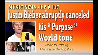 "Justin Bieber abruptly canceled his Purpose World tour - LP 147Please Subscribe  : https://goo.gl/cFYlJ7Starting on March 9, 2013, the Purpose World Tour went through six continents with 150 concerts and grossed nearly $ 200 million.As expected, Asia will be the last stop for this season's tour. But two days after being banned by the Chinese government, Justin Bieber made the decision to cancel the tour suddenly causing fans to be very nervous and bewildered.Bieber's decision to pull out of the remaining 14 dates of his ""Purpose"" world tour. But the cancellation of the rest of his tour was backed by fans, including American singer-songwriter John Mayer.His manager, Scooter Braun, said that Justin Bieber needed some rest after being on the road for two years.Other a source new said that Justin Bieber canceled tour due to health problems continuing for more than a year, the Canadian star was exhausted.Justin Bieber said in a message to fans that  ""I love you guys, I think you guys are awesome. I'm sorry for anyone who feels, like, disappointed or betrayed, it's not in my heart or anything and have a blessed day"".More info about Justin Bieber: Justin Drew Bieber was born 1 month 3 year 1994 . He is a singer Pop / R & B Canada . His clips are viewed by Scooter Braun at Youtube , now he's manager of Justin Bieber. Braun and Justin went to Atlanta , Georgia to discuss with Usher and quickly signed contract with Raymond Braun Media Group (RBMG) , then LA Reid and Island Def Jam....ThanksPlease subscribe, like,shareLucy protopnail channel – Part : World NewsMusic News.My blog : https://lphotnews.blogspot.com/"