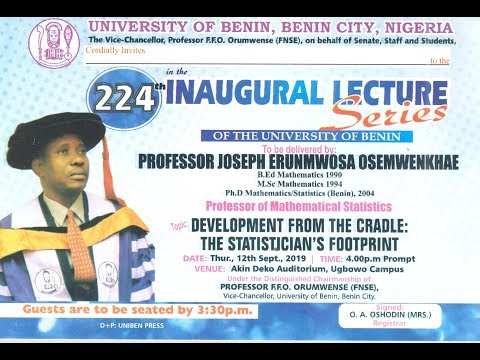 Watch live : 224TH Inaugural Lecture Series of the University of Benin