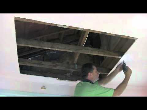plaster repair - How to repair water damaged-sagging ceiling drywall plaster.