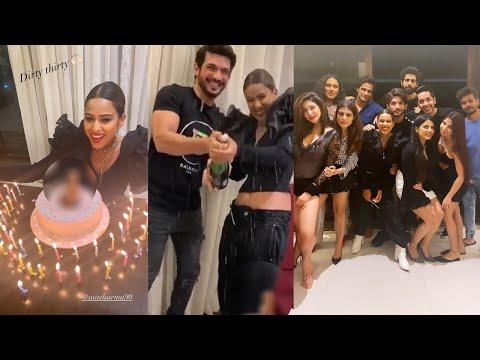 Nia Sharma cuts Dirty Cake on her 30th birthday celebrates with Arjun Bijlani,Reyhna Pandit,Shagun
