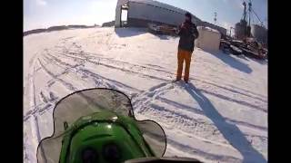 9. Me driving my '02 Arctic Cat Z440 SnoPro around the farm 12-9-13