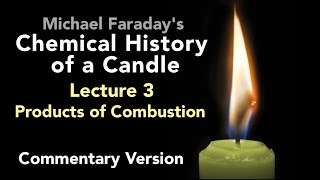 "Bill Hammack & Don DeCoste highlight the key points of Lecture Three of Michael Faraday's lectures on The Chemical History of a Candle. A free companion book helps modern viewers understand each lecture — details at http://www.engineerguy.com — as does this commentary track and closed captions for each lecture.►Free Companion book to this video series http://www.engineerguy.com/faradayText of Every Lecture  Essential Background  Guides to Every Lecture  Teaching Guide & Student ActivitiesIn these lectures Michael Faraday's careful examination of a burning candle reveals the fundamental concepts of chemistry, while at the same time superbly demonstrating the scientific method. In this lecture  Faraday investigates one of the products of combustion produced by a candle — water. From water he produces hydrogen and oxygen, whose properties he will investigate in more detail in the next lecture.LINKS TO OTHER VIDEOS IN THIS SERIES► Lectures(1/6) Introduction to Michael Faraday's Chemical History of a Candlehttps://www.youtube.com/watch?v=RrHnLXMTOWM(2/6) Lecture One: A Candle: Sources of its Flamehttps://www.youtube.com/watch?v=6W0MHZ4jb4A(3/6) Lecture Two: Brightness of the Flamehttps://www.youtube.com/watch?v=B8vSLgaW9WQ(4/6) Lecture Three: Products of Combustionhttps://www.youtube.com/watch?v=31pLJyReFXw(5/6) Lecture Four: The Nature of the Atmospherehttps://www.youtube.com/watch?v=v1DWHeouJYM(6/6) Lecture Five: Respiration & its Analogy to the Burning of a Candlehttps://www.youtube.com/watch?v=Fb4RoPEtwso► Bonus Videos: Lectures with CommentaryLecture One: A Candle: Sources of its Flame (Commentary version)https://www.youtube.com/watch?v=ce0g0e9NmgQLecture Two: Brightness of the Flame (Commentary version)https://www.youtube.com/watch?v=grWNnVB9B-4Lecture Three: Products of Combustion (Commentary version)https://www.youtube.com/watch?v=0s8anLurWp0Lecture Four: The Nature of the Atmosphere (Commentary version)https://www.youtube.com/watch?v=WLgxPKU-JsILecture Five: Respiration & its Analogy to the Burning of a Candle (Commentary version)https://www.youtube.com/watch?v=tCmZfnT6_M4►Subscribe now!  https://www.youtube.com/subscription_center?add_user=engineerguyvideo►Become an advanced viewer of Engineer Guy videos - help evaluate early draftshttp://www.engineerguy.com/previewCOMPANION BOOK DETAILSThe companion book is available as an ebook, in paperback and hardcover — and for free as a PDF. Details on all versions are at http://www.engineerguy.com/faradayMichael Faraday's The Chemical History of a Candlewith Guides to the Lectures, Teaching Guides & Student ActivitiesBill Hammack & Don DeCoste190 pages  5 x 8  14 illustrationsHardcover (Casebound)  ISBN 978-0-9838661-8-0  $24.95Paper ISBN 978-1-945441-00-4 $11.99eBook  ISBN 978-0-9839661-9-7  $3.99Audience: 01 — General TradeSubjectsSCI013000   SCIENCE / Chemistry / GeneralSCI028000   SCIENCE / Experiments & ProjectsSCI000000   SCIENCE / GeneralEDU029030  EDUCATION / Teaching Methods & Materials / Science & TechnologyThis book introduces modern readers to Michael Faraday's great nineteenth-century lectures on The Chemical History of a Candle. This companion to the YouTube series contains supplemental material to help readers appreciate Faraday's key insight that ""there is no more open door by which you can enter into the study of science than by considering the physical phenomena of a candle."" Through a careful examination of a burning candle,  Faraday's lectures introduce readers to the concepts of mass, density, heat conduction, capillary action, and convection currents. They demonstrate the difference between chemical and physical processes, such as melting, vaporization, incandescence, and all types of combustion. And the lectures reveal the properties of hydrogen, oxygen, nitrogen, and carbon dioxide, including their relative masses and the makeup of the atmosphere. The lectures wrap up with a grand, and startling, analogy: by understanding the chemical behavior of a candle the reader can grasp the basics of respiration. To help readers understand Faraday's key points this book has an ""Essential Background"" section that explains in modern terms how a candle works, introductory guides for each lecture written in contemporary language, and seven student activities with teaching guides.Author BiosBill Hammack is a Professor of Chemical & Biomolecular Engineering at the University of Illinois—Urbana, where he focuses on educating the public about engineering and science. He is the creator and host of the popular YouTube channel engineerguyvideo. Don DeCoste is a Specialist in Education in the Department of Chemistry at the University of Illinois—Urbana, where he teaches freshmen and pre-service high school chemistry teachers. He is the co-author of four chemistry textbooks."