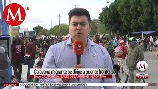 Caravana migrante se dirige a puente fronterizo