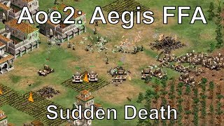 "A crazy Age of Empires II Aegis cheatcode multiplayer game on Sudden Death. In this Aoe2 online match, Resonance22 gives commentary on a FFA free-for-all viewer game where if you lose your Town Center, you lose the game. You cannot build more Town Centers in Sudden Death. In addition, with Aegis turned on players can create units, gather resources, build buildings, and research technologies instantly. Rise of the Rajas New Civilization Overviews:https://www.youtube.com/playlist?list=PLOZFzqxtvtxeqZcAKU1HZqafuVctkPLGnWatch me stream these matches live at: http://www.twitch.tv/resonance22Follow me on Facebook: https://www.facebook.com/Resonance22Follow me on Twitter: https://twitter.com/Resonance22Quotes Reddit: https://www.reddit.com/r/resquotes/Civilizations: Turks, Italians, Britons, Incas, Slavs, Vikings, HunsMap: MichiStrategy: Mass Longbowmen, Warwolf Trebuchets, Slavs Siege, Turks GunpowderGame Type: FFA 7 Players, Sudden Death, Online Multiplayer GameExpert Rise of the Rajas & African Kingdoms Gameplay:https://www.youtube.com/playlist?list=PLOZFzqxtvtxexvGoicKtHauNgPWC_o1DQDate Recorded: June 10, 2017My Steam Workshop Mods:Terrain Texture Pack: http://steamcommunity.com/sharedfiles/filedetails/?id=140025354Mike's Farm Textures: http://steamcommunity.com/sharedfiles/filedetails/?id=478802899Pussywood for HD: http://steamcommunity.com/sharedfiles/filedetails/?id=549369672Tetsuo's Cliff Textures: http://steamcommunity.com/sharedfiles/filedetails/?id=144402235My Custom AI: http://steamcommunity.com/sharedfiles/filedetails/?id=473358292Legal: All of the music used in this video is from the official soundtrack to Age of Empires II: HD Edition, and comes packaged with the game. The game is available to be purchased at the following link: http://store.steampowered.com/app/221380/Age of Empires II © Microsoft Corporation. This video was created under Microsoft's ""Game Content Usage Rules"" using assets from Age of Empires"