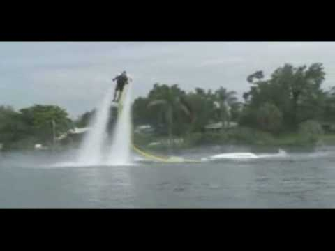 water jetpack - http://www.glennpew.com Fly on water thrust. This new jet pack idea may not be the best way to get to work, but it sure does look like a good time. The Germa...
