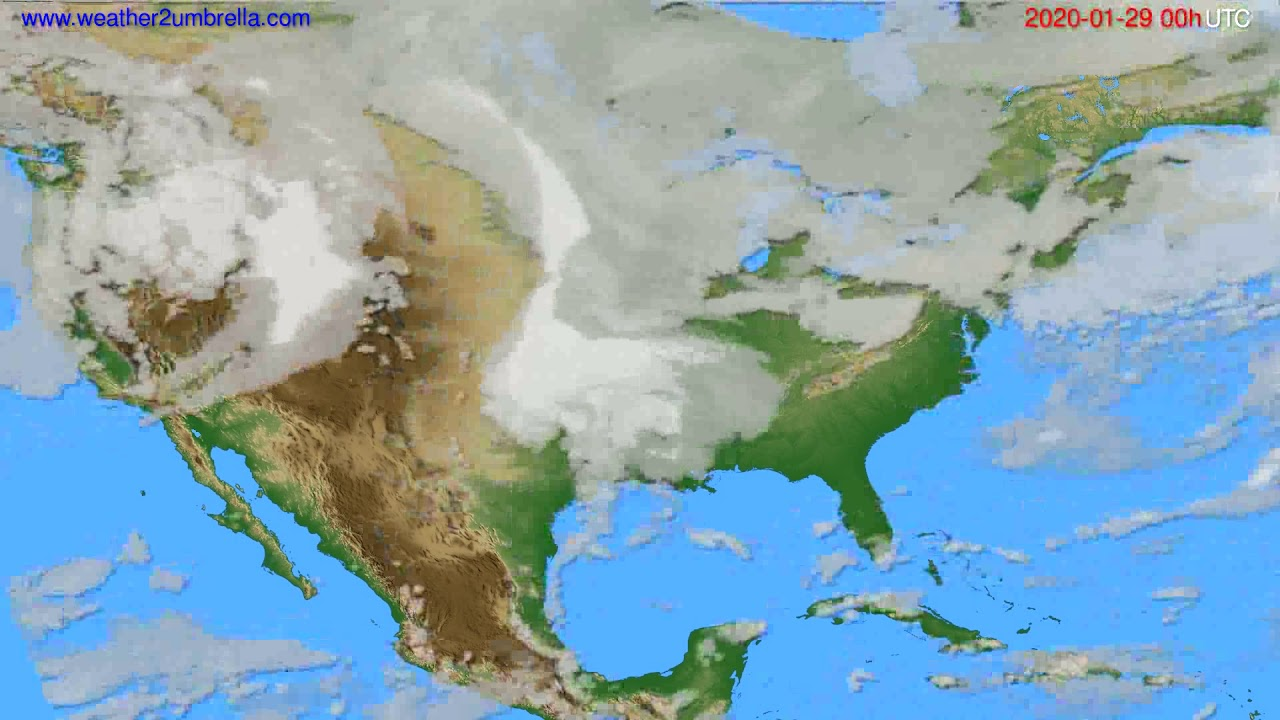 Cloud forecast USA & Canada // modelrun: 00h UTC 2020-01-28