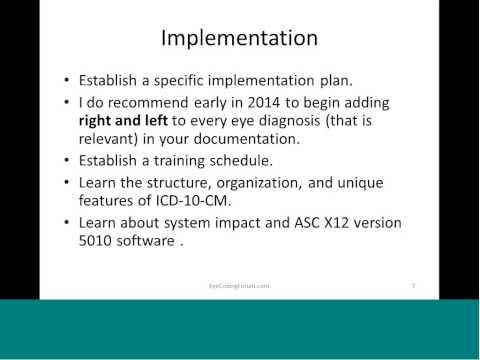 EyeCodingForum ICD-10 Intro Excerpt One 5 Minutes