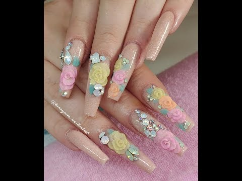 Extra Long Acrylic Nails with 3D Flowers