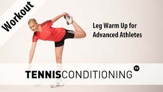 http://www.TennisConditioning.TV The leg warm up for advanced athletes consists of 5 dynamic stretching exercises to prepare neural pathways for explosive movements and decrease the risk for injury.Get more information: http://www.tennis-conditioning.com/2017/04/leg-warm-up-advanced-athletes/Like the shirt? Get it at http://www.StyleConditioning.com Connect with Philipp Halfmann: http://www.PhilippHalfmann.comCONNECT WITH TENNIS CONDITIONING TV- Visit our BLOG: http://www.tennis-conditioning.com- Subscribe to Tennis Conditioning TV: http://www.youtube.com/subscription_center?add_user=TennisConditioningTV- Like us on FACEBOOK: https://www.facebook.com/TennisConditioningTV- Follow us on TWITTER : https://twitter.com/TennisCondiTV- Website: http://www.TennisConditioning.TV- YouTube Channel Page: https://www.youtube.com/TennisConditioningTV- Google+: http://www.google.com/+TennisconditioningTv_Page- Pinterest: http://www.pinterest.com/tennisconditvABOUT USwww.Tennis-Conditioning.tv provides coaches and athletes with educational content, blog posts, news articles, videos, pictures and images. We are passionate about delivering thought provoking tennis-specific news and teaching people how to do something or explaining to them why something is beneficial to them because we believe in the notion that knowledge is power. We don't like to advocate something we don't believe in. We desire to share our thoughts, it's not illegal yet, and hence enable a worldwide audience to benefit as well.Featured Tennis Conditioning TV episodes include:- Professional Tennis Training Session with Alexander Ritschard (http://youtu.be/9EnfIt739pU)- How Flexibility Impacts OnCourt Performance (http://youtu.be/HFTfuzOBKnI)- Why Core Training for Tennis Players is Important (http://youtu.be/6HHGX62GVcw)- Why Jogging is a Waste of Time for Tennis Conditioning (http://youtu.be/Sxb6zuWoCN4)- The Purpose of Athletic Conditioning (http://youtu.be/lSXpMsfkULE)- How to Treat Tennis Elbow (http://youtu.be