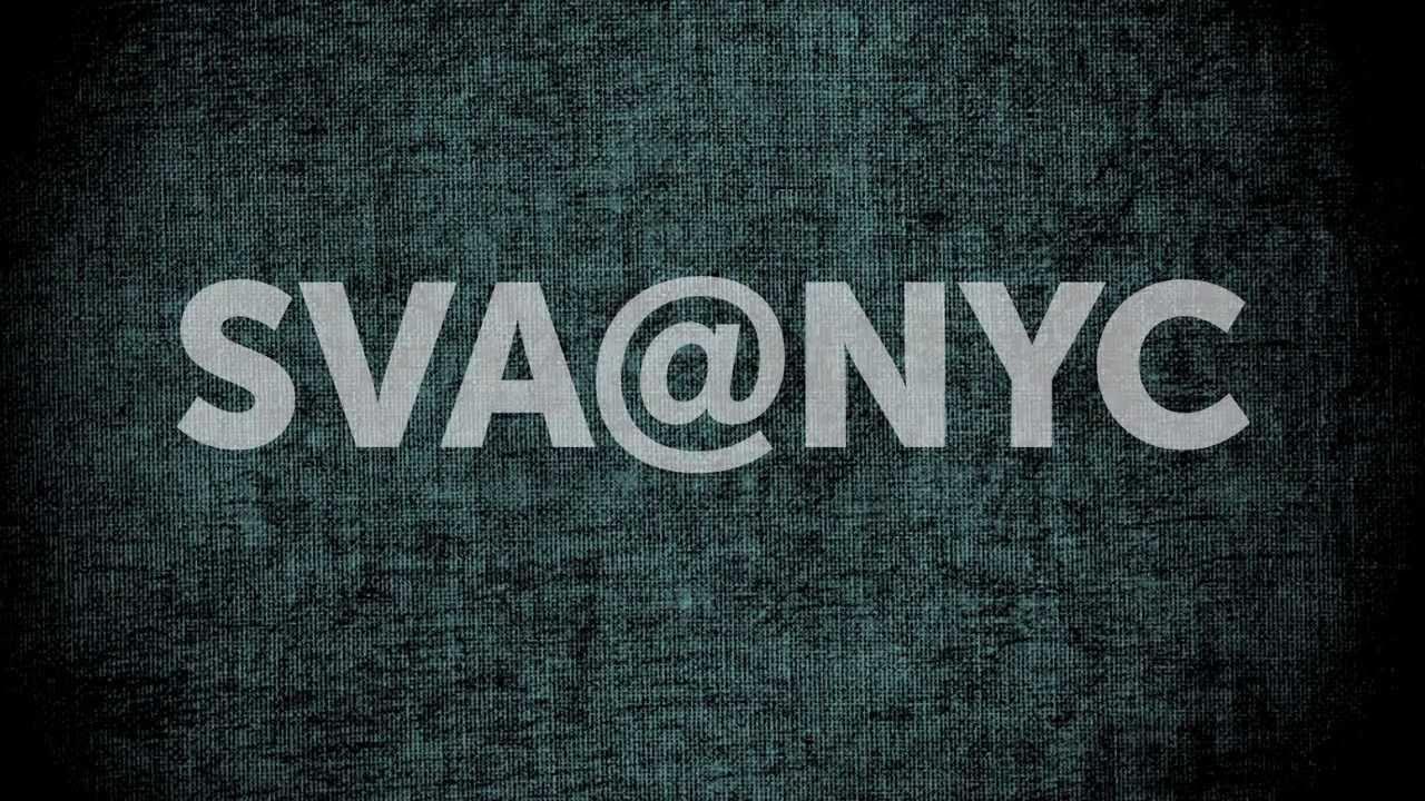 A logo for SVA over a textured background.