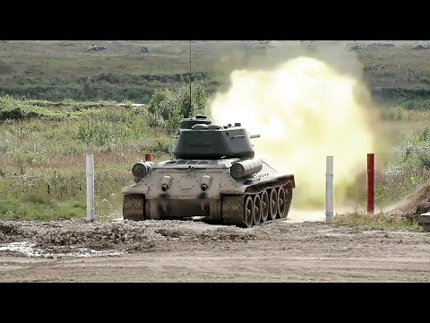 Legendary T-34 Tank In Action During Live Fire