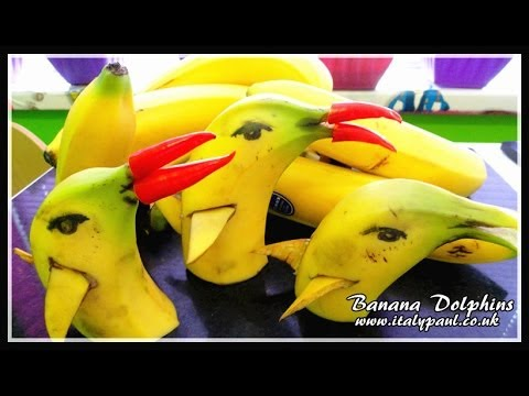 Art In Banana Show   Fruit Carving Yellow Dolphins Garnish