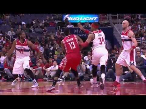 James Harden finds Joey Dorsey for the slam