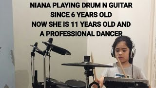 Niana hit that despacito has gone viral in the world viewed over 12 Million times, now this is video about multitalented niana , niana can be succes in america's got talent as a professional dancer with her brother Ranz Kyle . This time niana will playing guitar and drum by song of meghan trainor all about that bass same like shape on you in the latest video. Biodata of niana guerrero. Siblinggoals dare to dream. 2 Million ice subscribers party ,