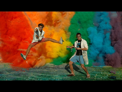 25 Airbag Rainbow Explosion in 4K - The Slow Mo Guys